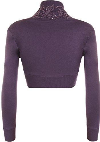 WearAll - Damen Übergröße perlen langarm Bolero - 8 Farben - Größe 44-54 Violett