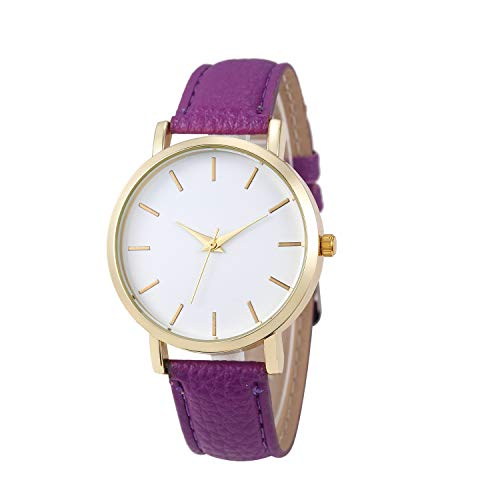 VECOLE Armbanduhr Fashion Round Alloy Dial Analog Quarzuhr Vivid PU Lederband Präzises Uhrwerk 12 Stunden Zifferblatt(Lila)