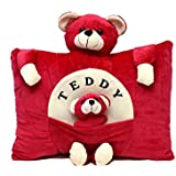 Aaradhya Enterprises Soft Teddy Baby Pillow For Kids, Red (40 Cm)
