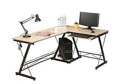 HLC Table Bureau Informatique Bureau d'Angle Ordinateur 161*120*73cm Couleur Naturelle-035
