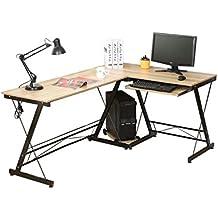 HLC Escritorio de computadora con bandeja para teclado,Hogar,Oficina,Estudio Escritorio,Mesa de Computadora,Estudio161*120*73 cm Color: Amarillo(Madera)