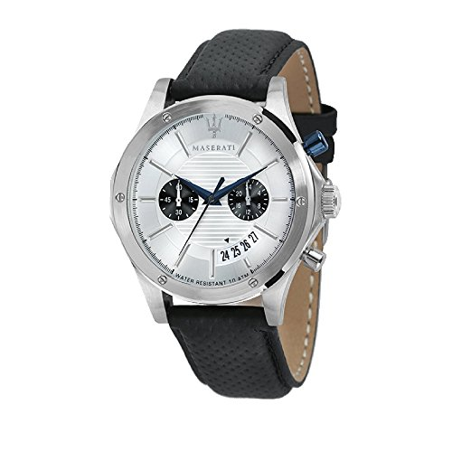 MASERATI Mens Chronograph Quartz Watch with Leather Strap R8871627005