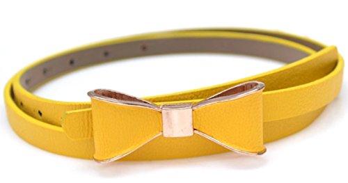 Elegante cinturón amarillo de fiesta para mujer con hebilla de pajarita