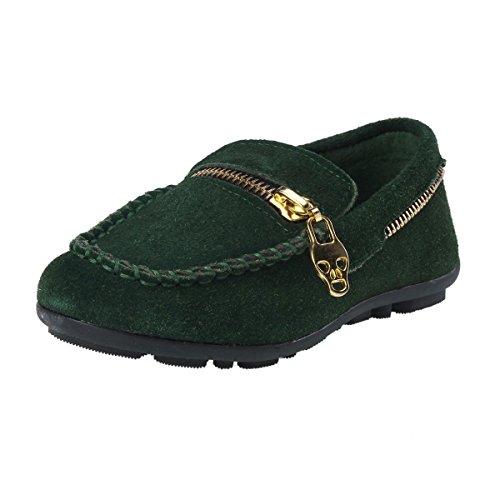Damara Chaussures Bateau Pour Mixte Enfant Talons Plat A Enfiler Vert