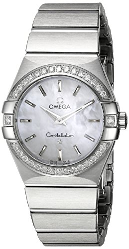 OMEGA Women's Constellation 27mm Steel Bracelet & Case Quartz MOP Dial Analog Watch 123.15.27.60.05.001