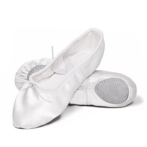 Ballettschuhe Mädchen Tanzschuhe ballettschläppchen Damen Bequem Spitzenschuhe Kinder Weiß 40