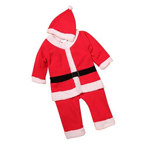 CHENGYANG Bambino Ragazze Ragazzi Costume di Natale Outfit con Cappello Abbigliamento Santa Babbo rosso#1 Asia 100
