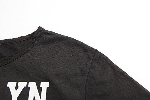 ZKOO Maglietta Donne Manica Corta Stampa Lettere Raccolto T-shirt Cime Camicie Tops Sciolto Estate Nero
