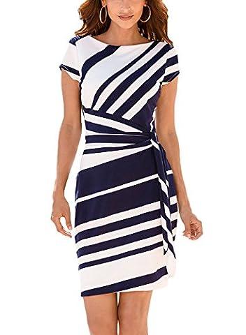 Annflat Women's Summer Stripe Short Sleeeve Knot Ribbon Tie Side O-Neck Sheath Dress Medium Navy