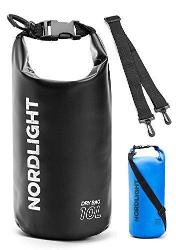 Nordlight Packsack wasserdicht Dry Bag für Kayak, Kanu, Segeln, Angeln, Strand und Trekking, Seesack wasserdicht klein (Schwarz, 10L)