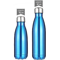Botellas de agua DKASA de acero inoxidable con aislamiento al vacío, doble pared de acero inoxidable, botella termo para niños, para ciclismo, gimnasio, yoga, deportes al aire libre, camping., color azul, tamaño 12 oz(350ml)