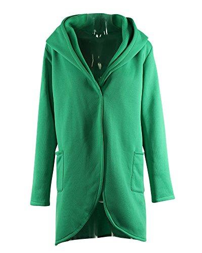 Femme Manteaux à Capuche Bouton Blouson Hoodie Veste Jacket Casual Outwear Sweatshirt Vert