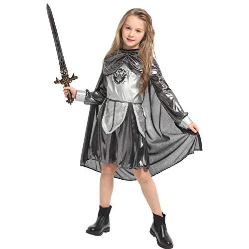 LOLANTA Kinder Mittelalter Krieger Kostüm Ritter Prinzessin Outfit Halloween Kostüm (5-6 (Gladiator Krieger Prinzessin Kostüm)