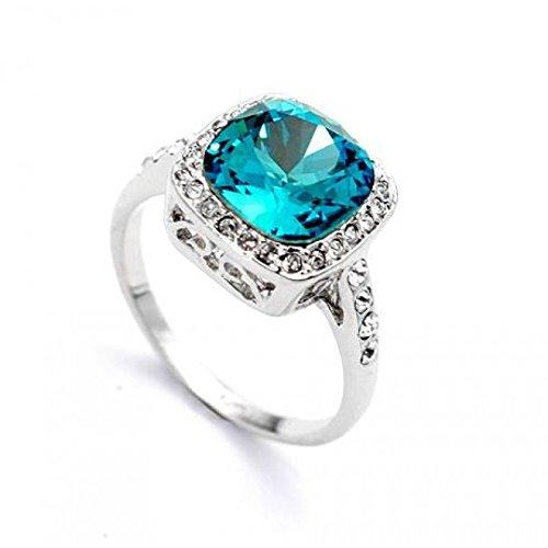 Signore - Signori Zirkonia Kristall 18k reales weißes Gold überzogene quadratische Blaue Saphir- Kristall-Ring umgeben Rhein Stones - Größe Q