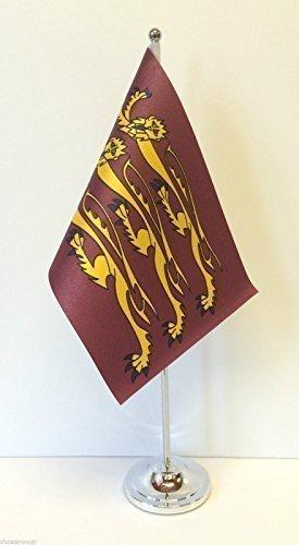 Richards Satin (King Richard III Satin-Flagge mit Chromfuß Tischflagge)