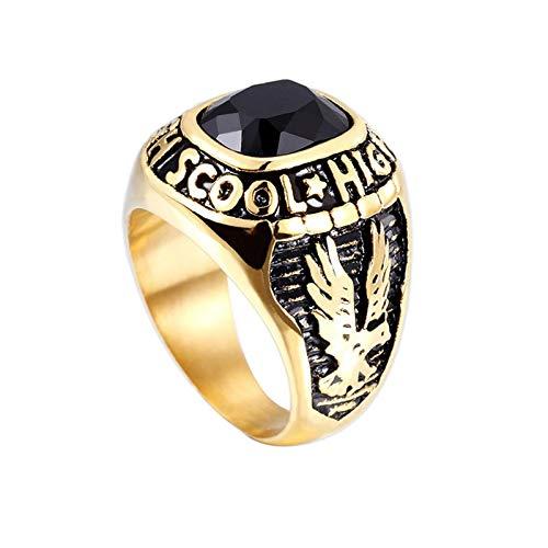 Beglie Anillo Unisex, Titanio, para Motero, de Compromiso, para el Pulgar, con águila y Letras, de circonita, Color Dorado y Negro