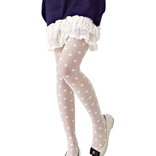 Rüschen Ballerina (Strümpfe Damen, YunYoud Frau Overknee strümpfe Reizvoller Spitze Strumpfhose Großer Punkt Lange Socken Einfarbig halterlose Strümpfe Beiläufig Dünn Socken (Länge: 90 cm, Weiß))