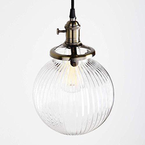 1949shop Industrielle Vintage Moderne Victoria hängende Decke Anhänger Leuchte Loft Bar Küche Insel Kronleuchter gerippte Globus Klarglas Schatten (Bronze) -