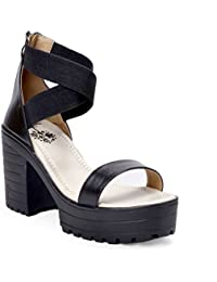 Meriggiare Women Black Block Heel Closed Back Ankle Strap Party PU Sandals