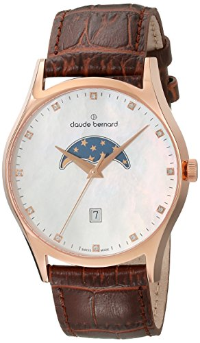 Claude Bernard Men's 79010 37R NAR Classic Gents Moon Phase Analog Display Swiss Quartz Brown Watch