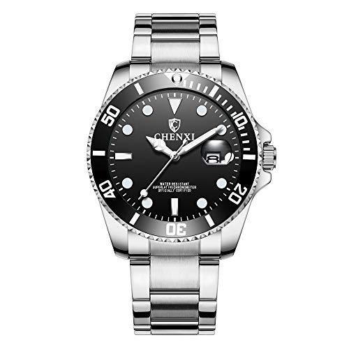 Herrenuhren Submariner Stil Kalender Quarz Armbanduhren für Herren Edelstahlband Klassisch, Schwarz