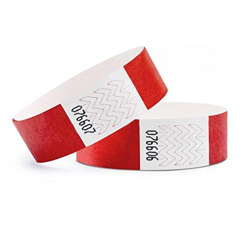 linie zwo, Confezione da 1.000 Braccialetti di identificazione Tyvek 19 mm, Rosso