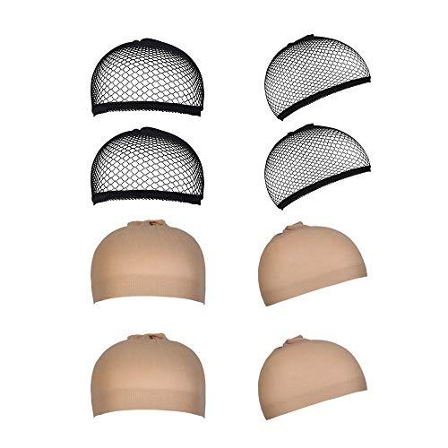 8 Pezzi Parrucca Tappi Copricapo Elastici a Rete per Capelli Aperto, URAQT Parrucca Caps Tappo per Uomini e Donne, neutro nude beige e nero