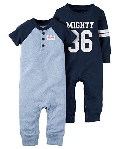 Carter's Baby Boys' 2-pack Jumpsuit Set (newborn, blue/navy) Carters Jumpsuit