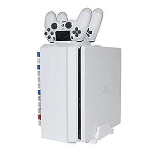 Games Tower, Vertikaler Standfuß, Ladestation – ElecGear Weiße Vertical Stand, DVD Blu-ray Disc Storage Ständer…