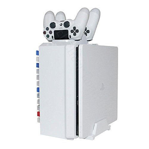 Game Tower / DualShock 4 Ladestation / Vertikaler Stand - ElecGear Glacial White Game DVD Blu-ray Disc Aufbewahrungshalter 12stk. Gaming Disks Charging Station Weiße for SONY PlayStation PS4 / PS4 Pro / Slim (Gaming Xbox One Tower)