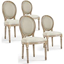 INTENSEDECO Lot De 4 Chaises Mdaillon Louis XVI Tissu Beige