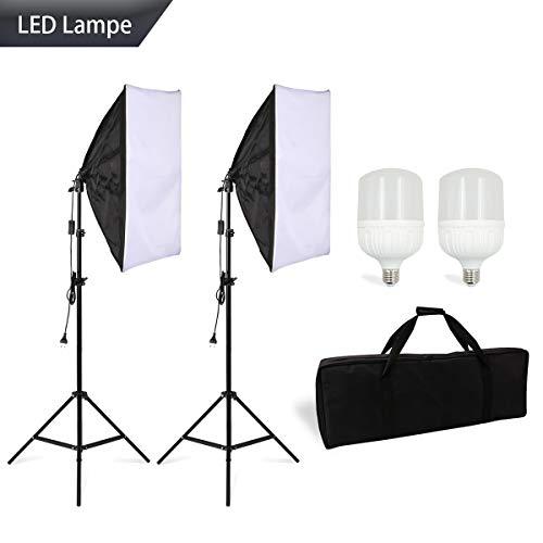 BuSeu Softbox Led Beleuchtung Fotostudio Studioleuchte Faltbare Softbox Set 50 x 70 cm inkl. 28w Leuchtmittel Stativ Tragtasche