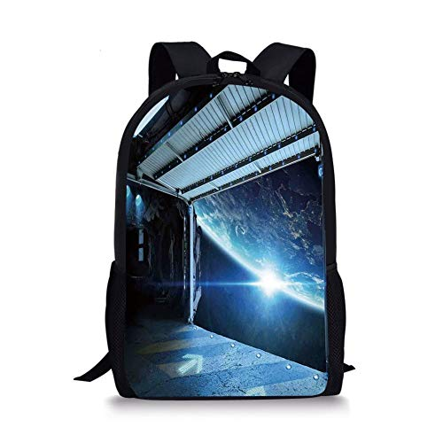 School Bags Outer Space Decor,Interstellar Airlock Shuttle Runway Gate Journey to Stars Invasion View,Blue Gray for Boys&Girls Mens Sport Daypack
