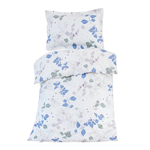 Ivy (Hojas de hiedra) - Pati'Chou Ropa de cama para cuna, 100% Algodón (funda de edredón 100x140 cm y 1 funda de almohada 40x60 cm)