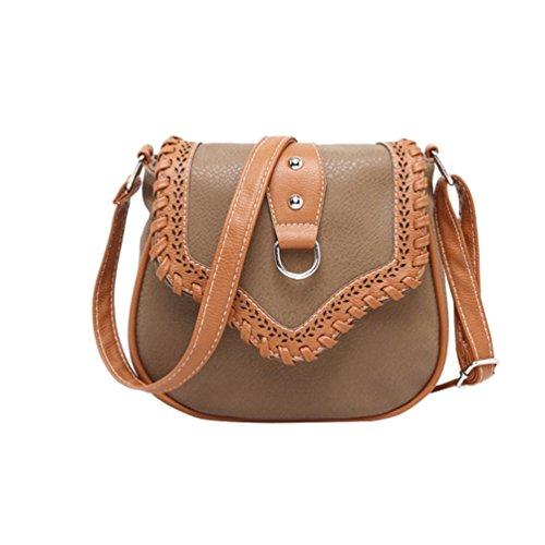 YouPue Damen Umhängetasche Kunstleder Kleine Vintage Handtaschen Schultasche Damenhandtaschen Schöne Taschen Pu-Leder Tragetaschen Kaffee