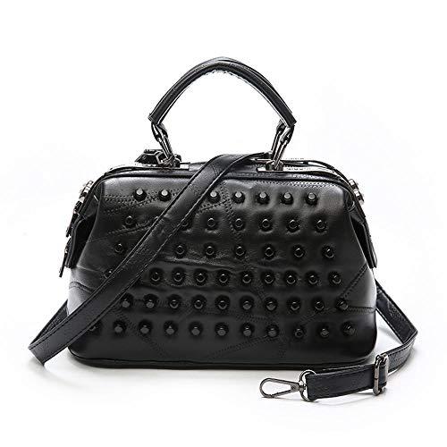 Sxuefang Damen Leder Tasche Lammfell Weiche Schultertasche aus Leder Handtasche Einzelne schräge Nähte Span Big-Bag 26 * 14 * 18 cm -