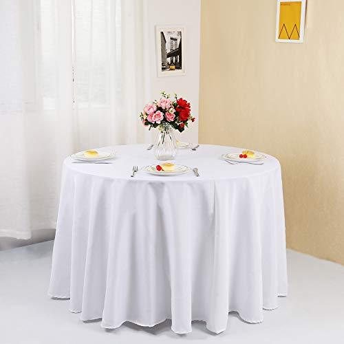 Zdada 270cm weiß rund Tischdecke, Polyester, Ausstellungen Party Empfang Bankett Tisch Cover (Tischdecke Party Runde)