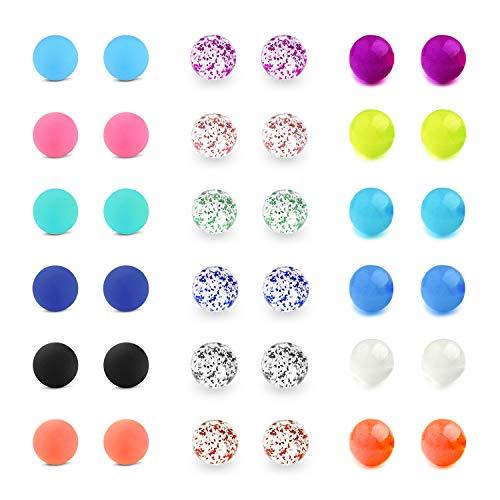LAURITAMI 36pcs Piercing Lengua Bolas Reemplazo 5mm de Piercing Recambio 14G Plastico Ombligo Varios Estilos Joyas Cuerpo