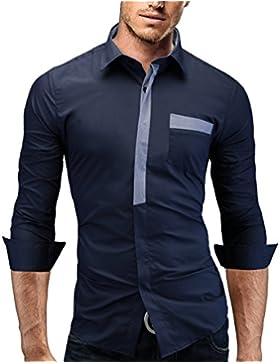 [Sponsorizzato]Merish Camicia Uomo Slim Fit, manica lunga, moderni,Tasca sul petto contrasto, adatto per tutte le occasioni,casual...