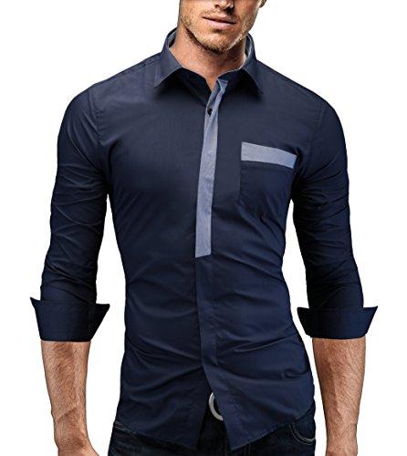 Merish camicia uomo slim fit, manica lunga, moderni,tasca sul petto contrasto, adatto per tutte le occasioni,casual e chic, diversi colori taglia s - xxl modell 94 blu scuro s