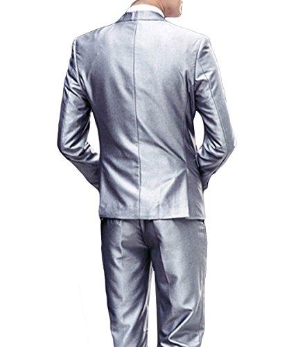Costume Homme Trois-Pièces Veste Gilet et Patalon Slim Fit Elegant Deux Boutons Bussiness Mariage Argenté