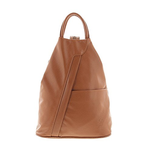 Leder-braun-schulter-handtaschen (IO.IO.MIO leichter echt Leder Damenrucksack CityRucksack DayPack freie Farbwahl, 27-18x30x13 cm (B x H x T) (cognac))