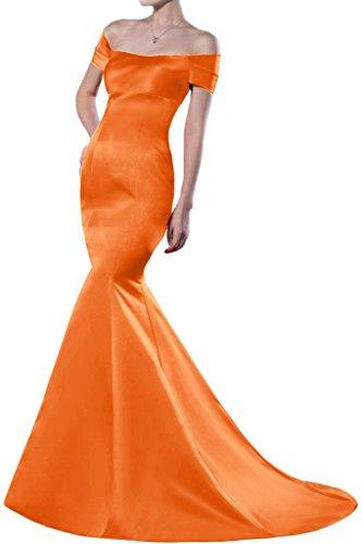 Sunvary Mermaid Off-the-spalla raso per abiti da sera lungo Homecoming Gowns Arancione