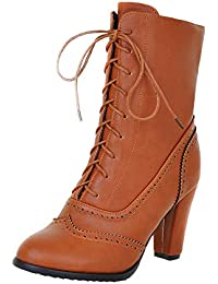 e9bcf701ea8 Susenstone Bottes Cuissardes à Lacets Court Femme Chaud Hiver Ankle  Chaussures CompenséEs en PU Cuir Chaud Bottes à Talons Talon…