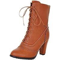 ZODOF Botas clásicas con Cordones de Cuero de Las Mujeres clásicas de la Bota de tacón Alto con Cordones Martin Boots Botas Martin Alto Top Planos para Mujer,Botas de Cuero Cortas