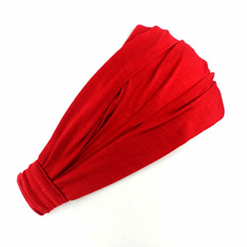 VIccoo Mode Damen Baumwolle Hairband Stirnband Wrap Neck Solid Color Kopftuch 3 in 1 - rot