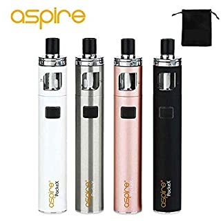 Authentic Aspire PockeX Pocket AIO Kit Electronic Cigarette 1500mAh Battery All-in-One Vape Pen E-Cigarette Starter Kit vapeonly Bag ,No Nicotine, No E Liquid (Black)
