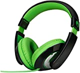 RockPapa Over Ear Stereo Headphones Earphones, for Adults Kids Childs Boys Girls, Noise Isolating, Adjustable, Heavy Deep Bass for iPhone iPod iPad MP3 MP4 Players SmartPhones Computer Music Gaming Headphone Green & Black