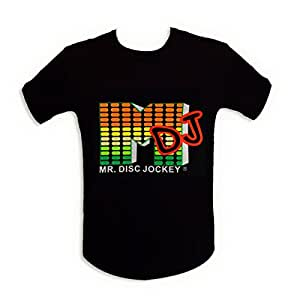 "T-shirt lumineux ""M DJ"" LED equalizer L"