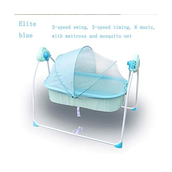 Mr.LQ Electric Shaker Electric Cradle Bed Baby Shake Bed Newborn Sleeping Intelligent Automatic Flat Lay Crib,Pink  ?Special design: Carefully design every detail to create a comfortable feeling for your baby. It is closer to the mother's arms. ?Safety: thick steel pipe, strong carrying capacity, anti-slip mat on the foot, ensuring the base is strong, will not damage the floor ?Additional features: 3-speed swing, 3-speed timing, 6 music, with mattress and mosquito net 6